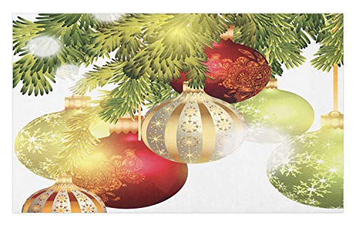 Ambesonne Christmas Doormat, Baubles Motifs Noel Yuletide Theme Traditional Celebration Motif Winter Season, Decorative Polyester Floor Mat with Non-Skid Backing, 30 W X 18 L Inches, ()