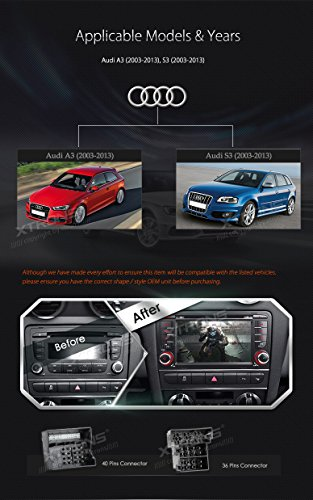 XTRONS 7 Inch HD Digital Touch Screen Car Stereo In-Dash DVD Player with GPS Navigation Dual Channel CANbus Screen Mirroring Function for Audi A3 S3 Kudos Map Card Included by XTRONS (Image #2)