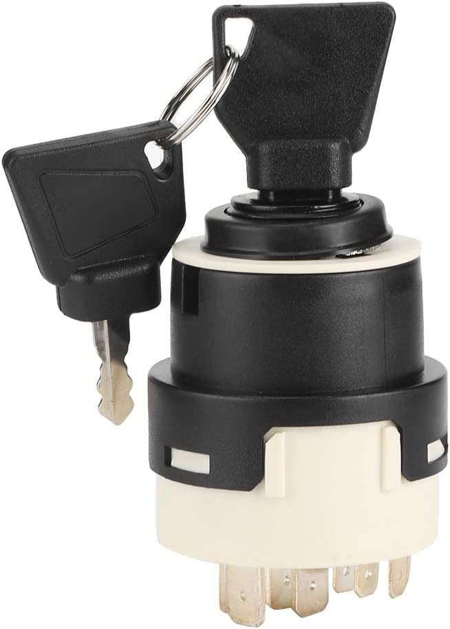 Fydun Interruptor de llave de encendido Interruptor de arranque de precalentamiento universal para autom/óvil de 24 V con 9 puntos de cableado Cerradura de encendido del veh/ículo con 2 llaves