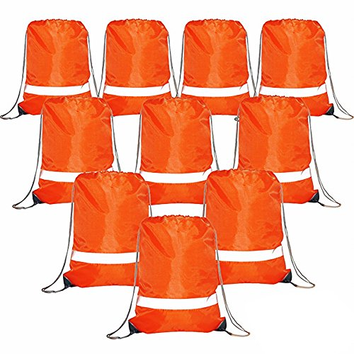 Drawstring Backpack Bags Reflective Bulk Pack, Promotional Sport Gym Sack Cinch Bags (10 orange)