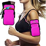Innens Arm Bag, Universal Sports Armband Fitness Arm Bag with Earphone Jack Compatible for iPhone X 8 7 6 6S Plus, Galaxy S9 Plus S9 S8 S7 Edge S6 Edge - Running, Gym, Outdoor, Workout (A-Rose)