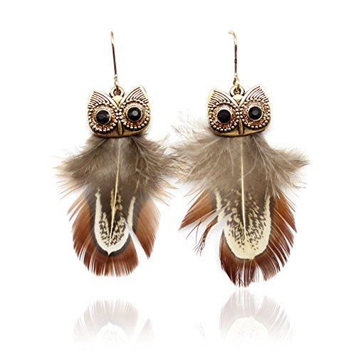 Animal Brown Earrings - palettei Ethnic Vintage Peacock Feather Owl Earrings for Women Ethnic Owl Animal Dangle Earrings Jewelry Gifts (Brown)