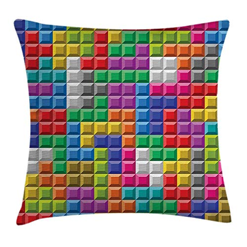 ZninesOnhOLD Video Games Throw Pillow Cushion Cover, Colorful Retro Gaming Computer Brick Blocks Image Puzzle Digital 90's Play, Decorative Square Accent Pillow Case, 18 X 18 Inches, Multicolor