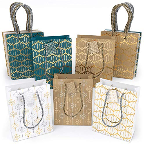 ARTEZA Gift Bags, Set of 15 with an Assortment of 2 Unique Metallic Foil Designs on 6 Kraft, 6 White, and 3 Blue Paper Bags (3 of Each Style), Perfect for Christmas Gifts, Birthday Parties ()