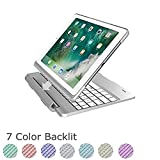 TechCode Keyboard Case for iPad air 2, 7 Color Backlit Detachable Smart Keyboard Case Slim Fit Folio Back Cover with Wireless Bluetooth Keyboard for iPad Air 2 9.7 Inch, Silver
