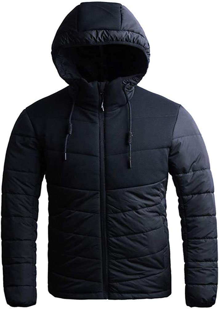 Hattfart Mens Hooded Puffer Solid Jacket Quilted Heavy Cotton Padded Jacket with Hoodie