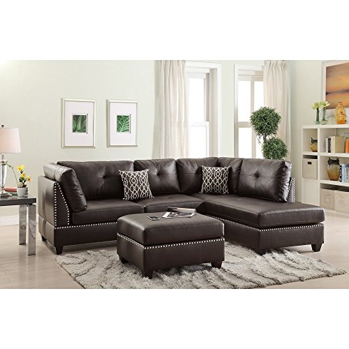 Benzara BM168760 Plushed Bonded Leather Sectional Sofa with Ottoman and Pillows, Brown (Sleeper Leather Ottoman Bonded)