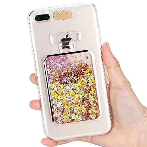 iPhone 7 Perfume Bottle Case,Auker [LED Flashing] Girly Bling Glitter Sand Flowing Liquid Slim Flexible TPU Clear Protective Sparkle Case with Detachable Neck/Wrist Strap for iPhone 7 4.7