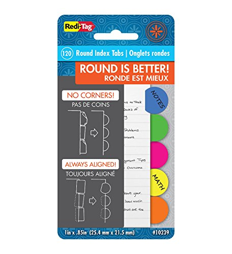 (Redi-Tag Round Poly Index Tabs, 20 Each of 6 Different Colors, 120 Tabs Total, 1 Inch Circular, 1 Pack (10239))