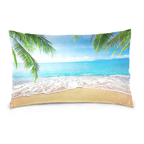 ALAZA Tropical Beach Palm Tree Leaves Cotton Standard Size Pillowcase 26 X 20 Inches Twin Sides, Ocean Sea Waves Scene Pillow Case Sham Cover Protector Decorative for Couch Ded ()