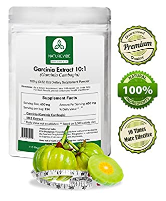 Naturevibe Botanicals Garcinia Cambogia Extract Powder 10:1 (100 grams) - 10 x more effective - Promotes Weight Loss - Fat Burn - Appetite Suppresant
