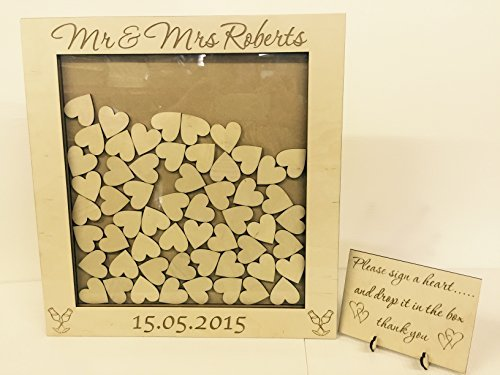 Personalised wedding guest book heart drop box wooden 104 hearts keepsake gift Wedding anniversary birthday rustic shabby chic 45x44cm by FSSS Ltd by FSSS Ltd