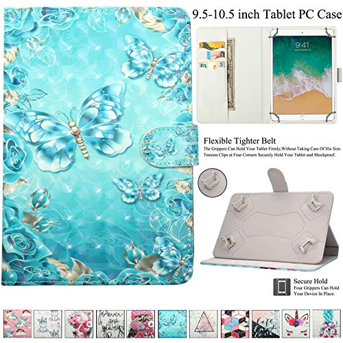(Universal 9.5-10.5 inch Case, Artyond Slim Folding Multi-Angle PU Leather Magnetic Closure Cover [Cards/Money Slots] Flip Stand Wallet Protective Case for All 9.5-10.5 inch Tablet (Wreath Butterfly))