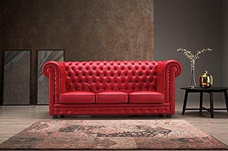Divano Rosso Pelle : Bioecoshop divano in pelle posti bioeco sof al tinta rosso mis