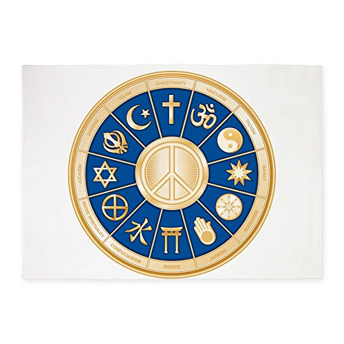 5' x 7' Area Rug International Peace Symbol Religions by Royal Lion
