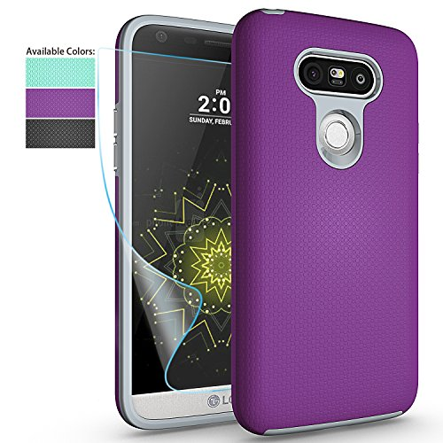 LG G5 Phone Case with HD Screen Protector,NiuBox Slim Fit Dual Layer Armor [PC + TPU Hybrid] Anti-Slip Shock Absorption Protective Phone Case Cover for LG G5 (T-Mobile,Unlocked,Verizon) - Purple