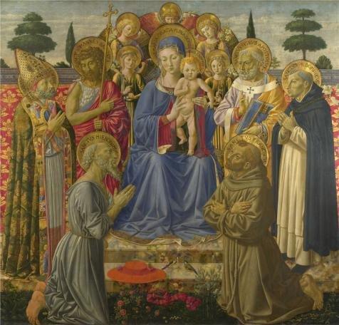 Oil painting `ベノッツォ・ゴッツォーリ–The Virgin and Child Enthroned Among Angels And Saints、1461–2`印刷ポリエステルキャンバスに、16x 17インチ/ 41x 42cm、最高のガレージアートワークとホームデコレーションとギフトはこの高定義アート装飾プリントキャンバスの商品画像