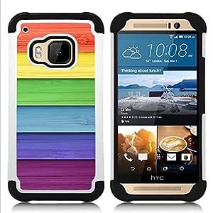 /Skull Market/ - Rainbow For HTC ONE M9 - 3in1 h????brido prueba de choques de impacto resistente goma Combo pesada cubierta de la caja protec -