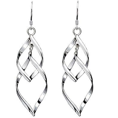 521596692 Amazon.com: Isenretail Fashion Jewelry Ladys 925 Silver Plated Double Twist  Wave Long Tassels Drop Dangle Earrings: Jewelry