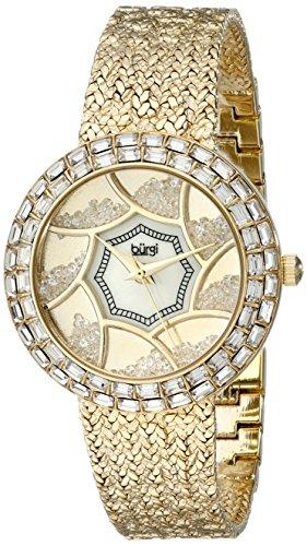 Baguette Crystal Dress Watch - Burgi Women's BUR118YG Crystal Baguette Bezel Mother-of-Pearl & Floating Crystal Dial Yellow Gold Bracelet Watch