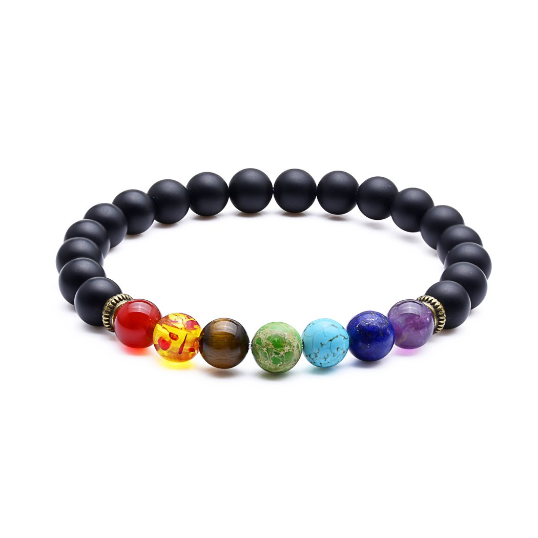 SROMAY 7 Chakra Lava Stone Diffuser Bracelet Crystal Reiki Healing Balancing Natural Gemstone Round Beads Sromay Jewelry RCYAME