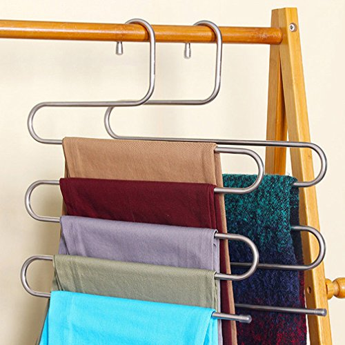MONOMONO-Useful Pants Trousers Hanging Clothes Hanger home 5Layers Space Saver Neat room