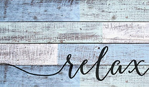 Relax Distressed Blue and White Design 14 x 24 Wood Pallet Wall Art Sign Plaque