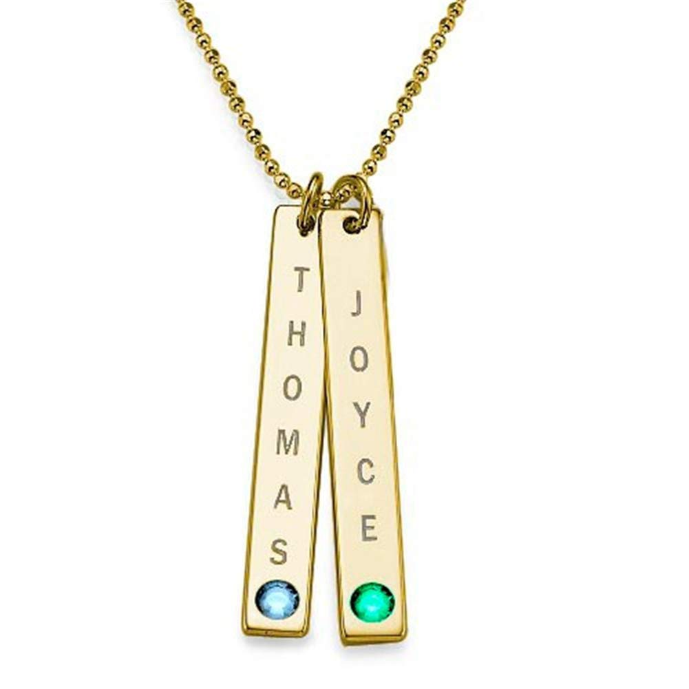 SADNESS N Personalized Charm Name Necklace-2 Sterling Silver Rectangular Pendants