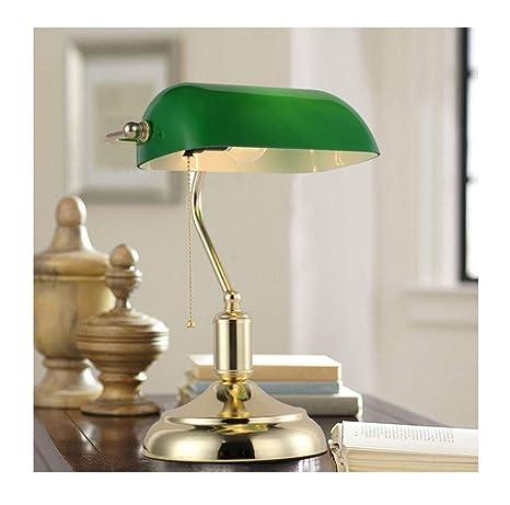 HW.Q Lámpara de Mesa clásica del Banco/Pantalla Verde ...