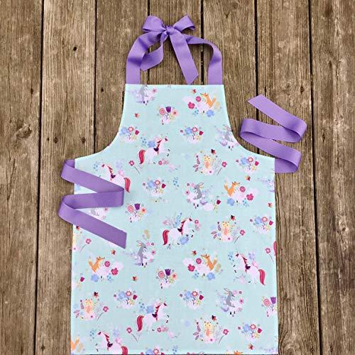 Handmade Woodland Unicorn Kitchen or Art Apron Gift for Tween Girl from Sara Sews