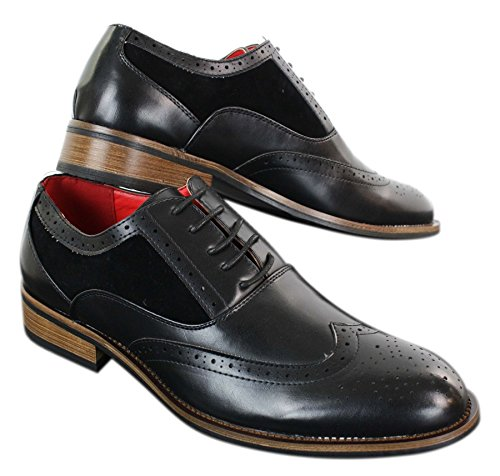 Mens Black Tan Brown Brogues Smart Casual Formal Leather Suede Laced Dress Shoes Black jDZTUV2RUb