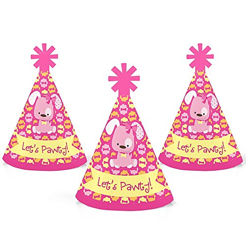 Big Dot of Happiness Girl Puppy Dog - Mini Cone Baby Shower or Birthday Party Hats - Small Little Party Hats - Set of 10 by Big Dot of Happiness