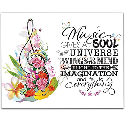 (Music Gives A Soul To The Universe And Life To Everything - 11x14 Unframed Typography Art Print - Great Gift for Musicians and Music Teachers)