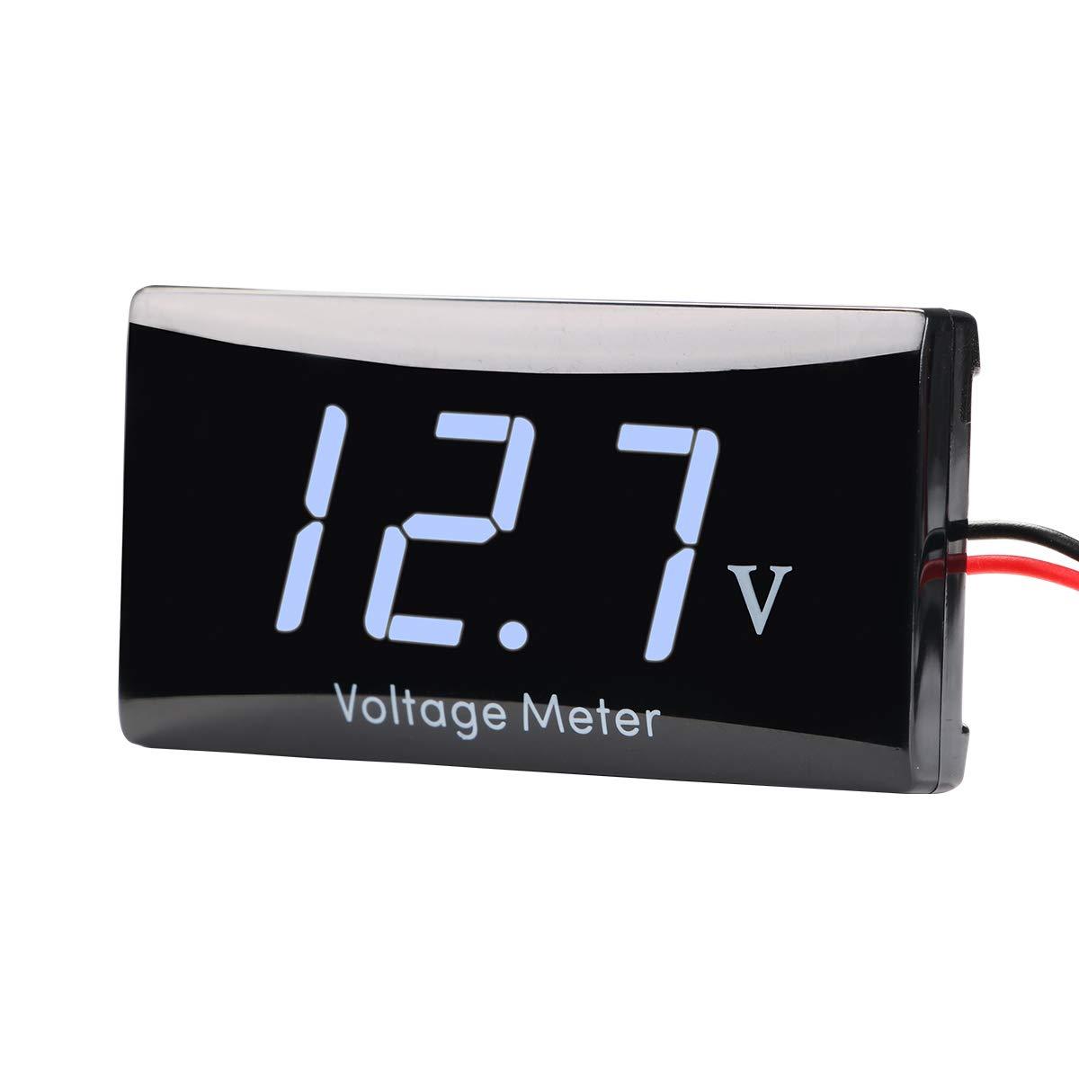 12 V Digital Spannungsanzeige Messger/ät Voltmeter f/ür Auto Motorrad AIMILAR DC 12 Volt Messger/ät rot