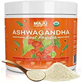MAJU's Ashwagandha Powder – Organic Root, Supplements Anxiety Relief, Feel Good Mood, Use in India Moon Milk, Adaptogenic Natural Herbs w/Protein for Depression, Best Pure Ashwaganda to Extract, 113g