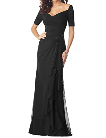 ebb1d125e0 Mother of The Bride Dresses Chiffon Mermaid Long Evening Gowns with Sleeves  Black US2