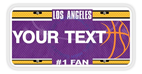 BleuReign(TM) Personalized Custom Name Basketball Los Angeles Purple and Gold Car Vehicle License Plate Auto Tag