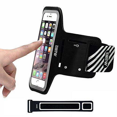 EOTW Sportarmband Handyhülle universell passend für iPhone, Samsung, HTC, usw., Oberarmtasche In Verschiedenen Farben und Größen für Laufen (4,7 Zoll, Schwarz)