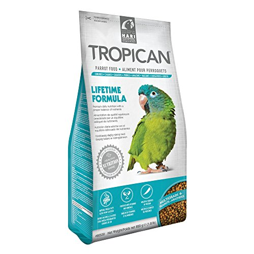 Tropican 1.8-Pound Lifetime Maintenance Parrot Granules, Standup Air Barrier Zipper Bag