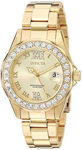 (Invicta Women's 15252 Pro Diver Gold Dial Gold-Plated Stainless Steel Watch)
