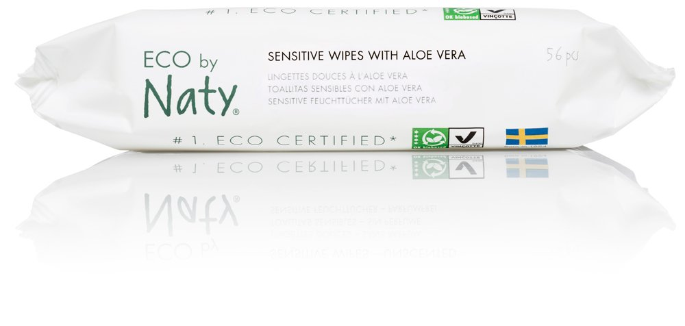 Biodegradable and Compostable Eco by Naty Thick Baby Wipes for Sensitive Skin Unscented 3 Packs of 56 Hypoallergenic 168 Wipes