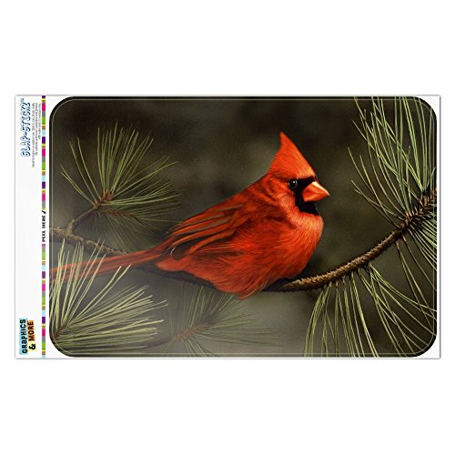 Graphics and More Northern Cardinal Red Pine Perch Home Business Office Sign - Window Sticker - 8