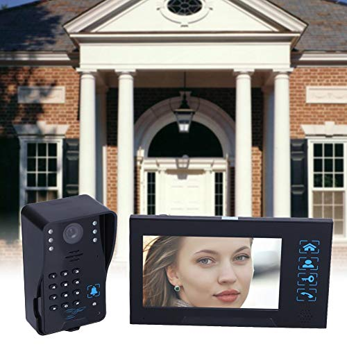 (Lexiesxue HD Villa-Type Video Doorbell 7 inch Wired Video Door Phone System Visual Intercom Doorbell Calendar Model Comes With Memory Card)