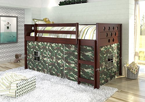 DONCO KIDS Circle Cappuccino Low Loft with Camo Tent , Twin