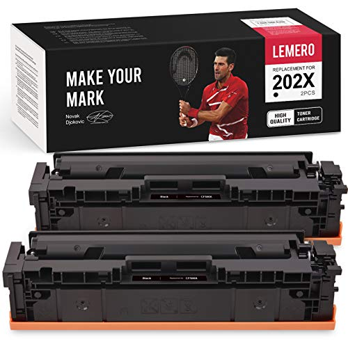 LEMERO Compatible Toner Cartridges Replacement for HP 202A 202X CF500X CF500A High Yield - for HP Color Laserjet Pro MFP M281fdw MFP M281cdw M254dw MFP M280nw (Black, 2 Pack)