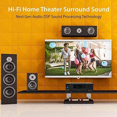 5.2-Channel Hi-Fi Bluetooth Stereo Amplifier – 1000 Watt AV Home Speaker Subwoofer Sound Receiver W/ Radio, USB, RCA, HDMI, Mic In, Wireless Streaming, Supports 4K UHD TV, 3D, Blu-Ray – Pyle PT694BT 51Xc1oHSiJL
