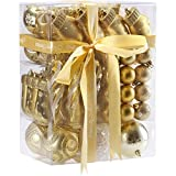 JIPIE 65 Pieces of Assorted Shatterproof Christmas Ball Ornaments Set Seasonal Decorative Hanging Ornament Set with Reusable Ribbon Gift Package for Holiday Xmas Tree Decorations, Gold