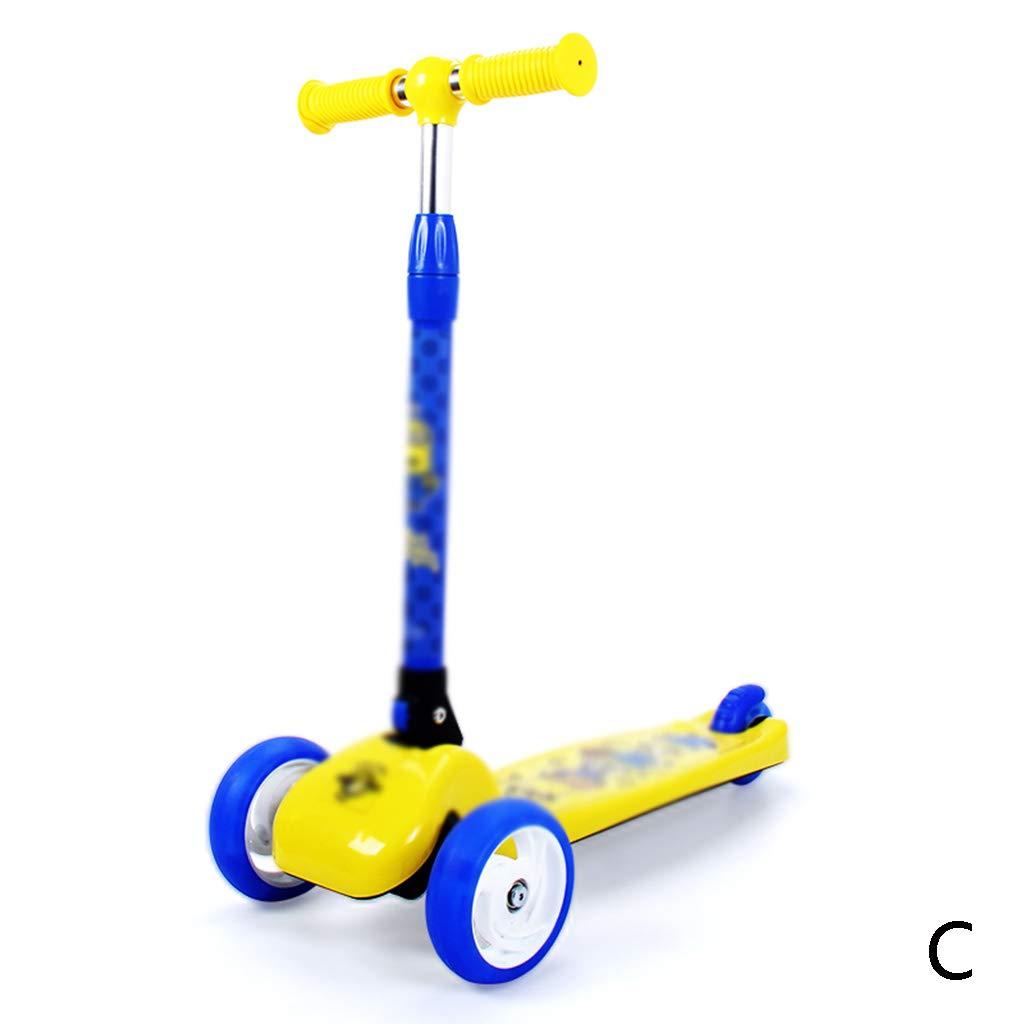 おもちゃ/乗用玩具三輪車/スケートボード 学生スクーター1-2-3-6歳3輪少年少女ヨーヨーフラッシュ初心者スケート、1秒折りたたみ、クールなフラッシュホイール、調節可能な高さ (Color : C, Size : 64*25*59cm) 64*25*59cm C B07KCGZ4KR