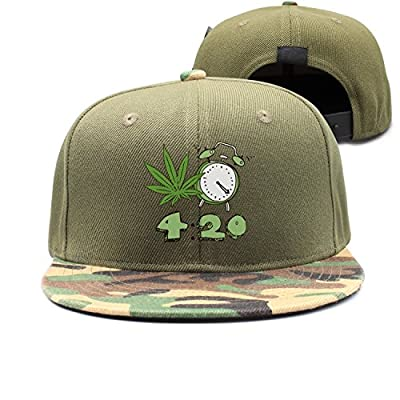 Nathat Childr Adjustable Camo Snapback Hat Weed Leaf Clock Cartoon 420 Day Flat Bill Brim Camouflage Baseball Cap