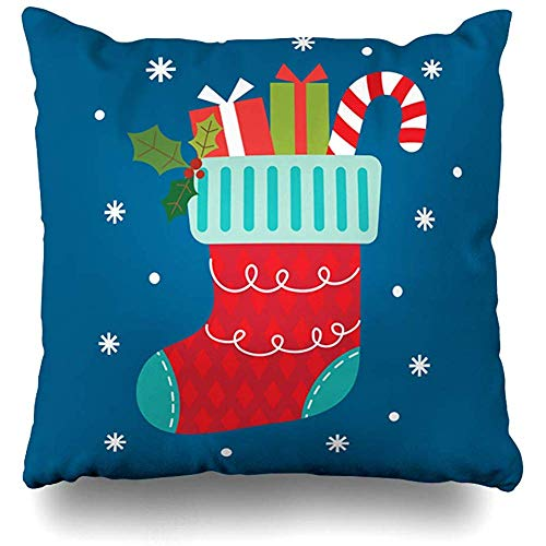 Throw Pillows Covers Cushion Case Merry Green Sock Christmas Stocking Blue Holidays Present Red Graphic Candy Cane Celebration Cherry Home Decor Pillowcase Square 18 x 18 Inches